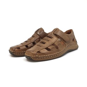 Pantofi casual barbati,perforati din piele naturala, Leofex - 596 taupe box