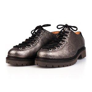 Pantofi casual cu siret pana in varf Leofex- 561 Bronz Negru