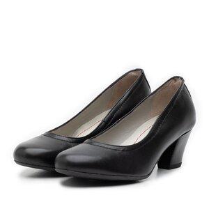 Pantofi casual cu toc dama de piele naturala - 422 negru