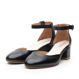 Pantofi casual cu toc dama de piele naturala, Leofex - 221 Negru box