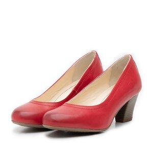 Pantofi casual cu toc dama de piele naturala, Leofex - 422 visiniu box