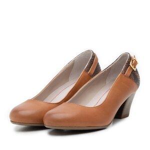 Pantofi casual cu toc dama de piele naturala, Leofex - 430 cognac+bej box