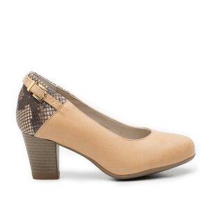 Pantofi casual cu toc dama de piele naturala, Leofex - 430 taupe cu croco