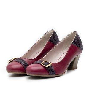 Pantofi casual cu toc dama de piele naturala, Leofex - 433 mov