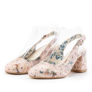 Pantofi casual cu toc dama, decupati din piele naturala, Leofex - 254 bej+ flori box