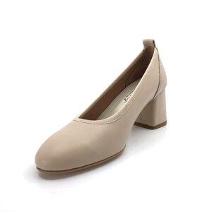 Pantofi casual cu toc dama din piele naturala,Leofex - 231-1 Nude box
