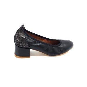 Pantofi casual cu toc dama din piele naturala Leofex - 231 Negru Box Croco