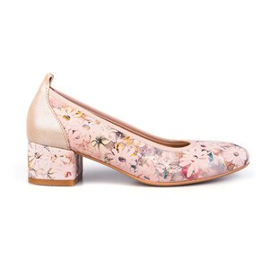 Pantofi casual cu toc dama din piele naturala, Leofex - 231 Nude Floral