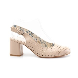 Pantofi casual cu toc dama, perforati si decupati la spate din piele naturala, Leofex - 247 nude box