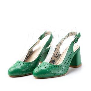Pantofi casual cu toc dama, perforati si decupati la spate din piele naturala, Leofex - 247 verde box