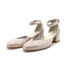 Pantofi casual cu toc dama din piele naturala, Leofex - 249 Roz pudra