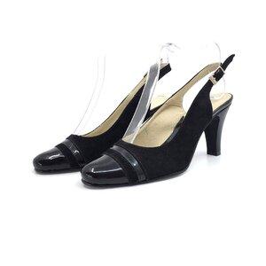 Pantofi casual cu toc dama din piele naturala, Leofex - 724 negru velur+lac