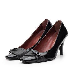 Pantofi casual cu toc dama din piele naturala, Leofex - 747 negru lac