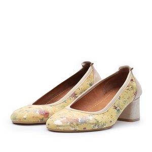 Pantofi casual cu toc dama din piele naturala,  Leofex - Mostra 231 Galben flori