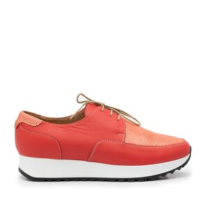 Pantofi casual dama din piele naturala,Leofex -102 Coral Serigrafiat