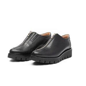 Pantofi casual dama cu fermoar din piele naturala,Leofex - 285 Negru box