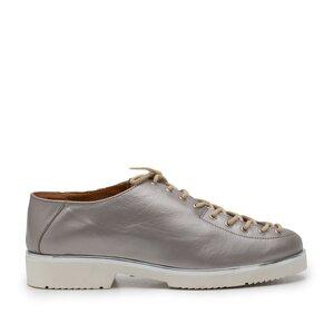 Pantofi casual dama cu siret pana in varf din piele naturala, Leofex- 194-1 Argintiu