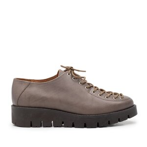 Pantofi casual dama cu siret pana in varf din piele naturala, Leofex - 194 Taupe deschis box