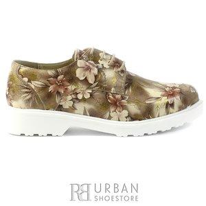 Pantofi casual dama din piele naturala - 157 caffe box floral