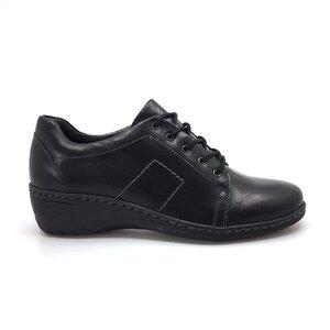 Pantofi casual dama din piele naturala, Leofex - 092-2 Negru box