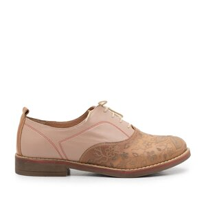 Pantofi casual dama din piele naturala Leofex- 109 Camel Taupe Laser