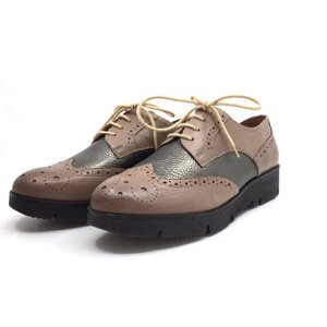 Pantofi casual dama din piele naturala, Leofex-173-1 Taupe Bronz Box