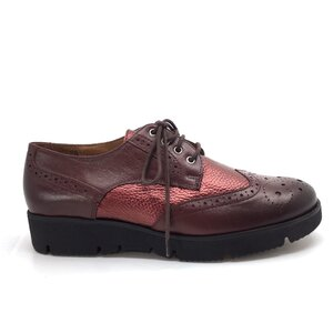 Pantofi casual dama din piele naturala, Leofex-173-1 Visiniu Box Metalizat