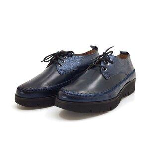 Pantofi casual dama din piele naturala,Leofex-198 Blue Box Metalizat