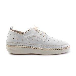 Pantofi casual dama din piele naturala, Leofex - 242 Argintiu metalizat