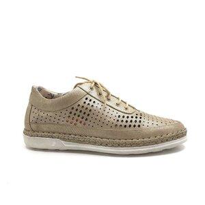 Pantofi casual dama din piele naturala, Leofex - 243 Taupe metalizat