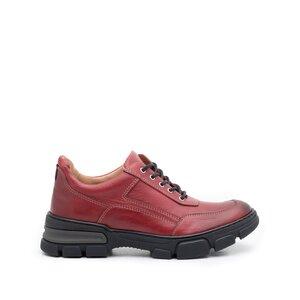 Pantofi casual dama din piele naturala, Leofex - 283 Visiniu box
