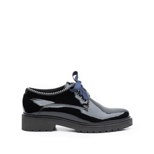 Pantofi casual dama din piele naturala, Leofex - 286-1 Negru lac