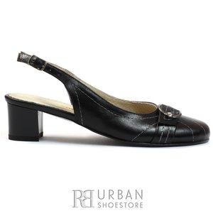 Pantofi casual dama din piele naturala, Leofex - 339 negru box