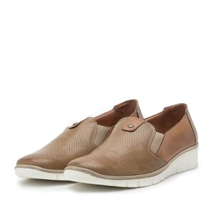 Pantofi casual dama din piele naturala,Leofex - 106 taupe
