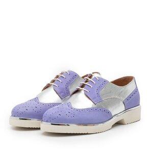 Pantofi casual dama din piele naturala, Leofex - 173 Mov argintiu