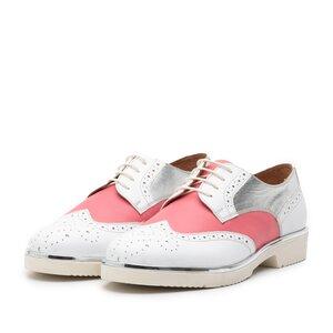 Pantofi casual dama din piele naturala, Leofex - 173 Roz Alb Argintiu