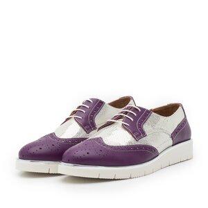 Pantofi casual dama din piele naturala, Leofex - 173 Violet Argintiu