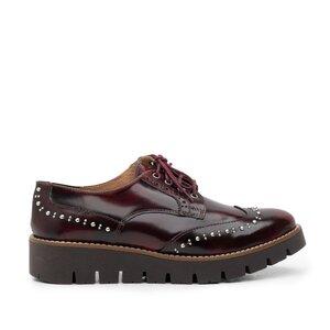 Pantofi casual dama din piele naturala,Leofex - 096 maro florantic