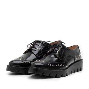 Pantofi casual dama din piele naturala,Leofex - 096 Negru Florantic