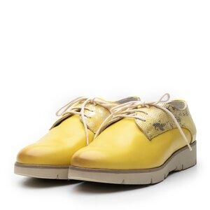 Pantofi casual dama din piele naturala Leofex- 200 Galben Box