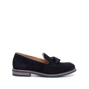 Pantofi casual barbati din piele naturala cu ciucuri, Leofex - 922 blue velur