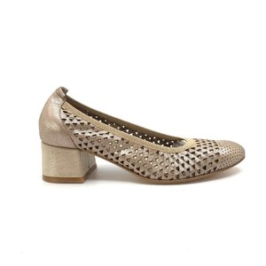 Pantofi casual perforati cu toc dama din piele naturala, Leofex - 248 Taupe sidefat box