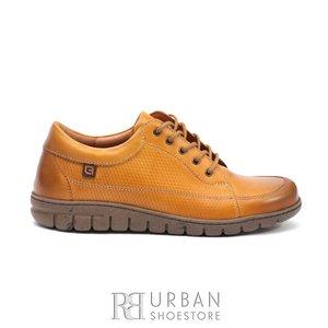 Pantofi casual/ sport din piele naturala, Leofex - 092 Mustar box