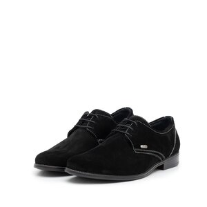 Pantofi copii din piele naturala, Leofex  - 578 negru velur