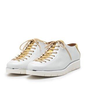 Pantofi casual dama cu siret pana in varf din piele naturala, Leofex- 194 -2 alb + galben box