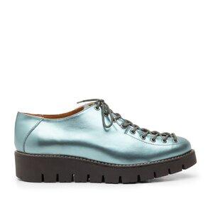 Pantofi casual dama cu siret pana in varf din piele naturala, Leofex- 194   Albastru Sidefat