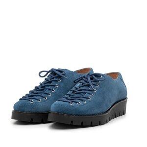 Pantofi casual dama cu siret pana in varf din piele naturala, Leofex- 194 blue inchis velur