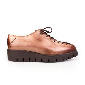 Pantofi casual dama cu siret pana in varf din piele naturala, Leofex- 194 Cacao
