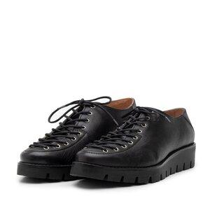 Pantofi casual dama cu siret pana in varf din piele naturala, Leofex- 194 Negru Box