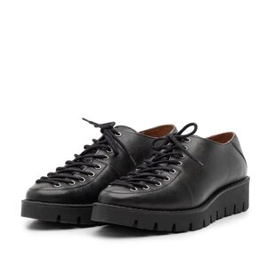 Pantofi casual dama cu siret pana in varf din piele naturala, Leofex- 194 Negru presat